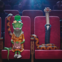 Miss Crawly and a snake have a date at the movies.