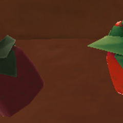 A rotten Cuberry and a normal Cuberry, side by side.