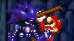 Mario gets choked by Mecha Sonic