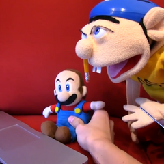 Mario and Jeffy viewing Officer Goodman's porn video on the internet.