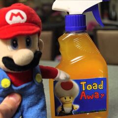Mario trying out a spray in the episode Toad Away (2011)