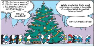 Smurfs With Christmas Tree (Comics)