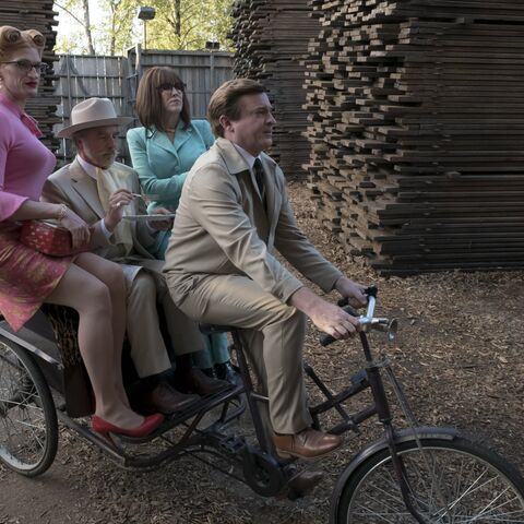 Charles driving Orwell, Shirley and Sir.