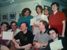 Several of the writers sometime between 1992 and 1995. Fred is standing next to Adam Sandler and wearing the grey Northwestern shirt.