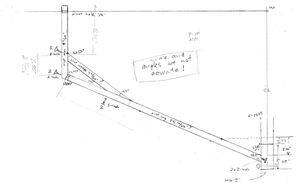Multi-Conical Solar Cooker support arm sketch, 8-8-13