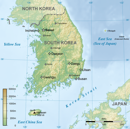 General map of South Korea