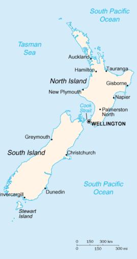 New Zealand map, 1-4-16