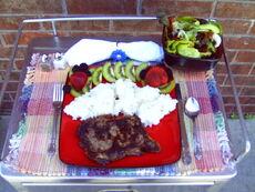 Ribeye steak and salad