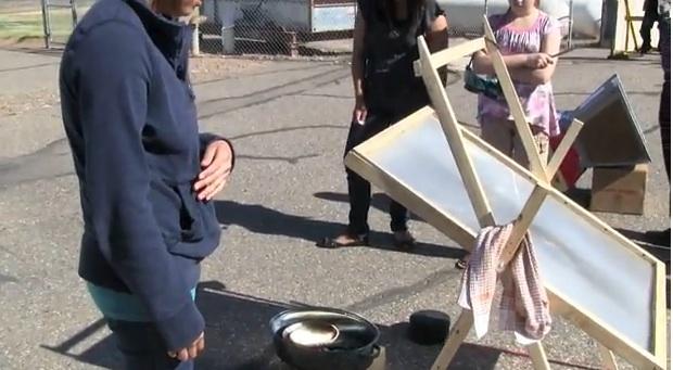 File:Navajo Student Fresnel Solar Cooker.jpg