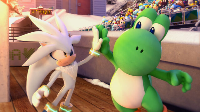 File:Silver and Yoshi giving high-five (Mario & Sonic 2010).jpg