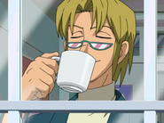 Ep11 Stewart sipping coffee