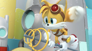 Tails flying with weapon