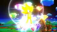 Super Sonic with the Chaos Emeralds in SSB Wii U