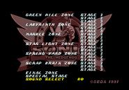 Level Select Sonic 1