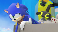 Robot about to step on Sonic's foot