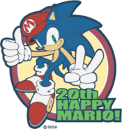 Sonic Celabrating Mario's 20th Birthday