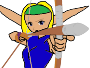 Future Terra using her bow and arrow