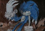 Sonic turning into a werehog with a tear streaking down