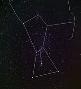 Shot of the constellation orion showing the belt and sword stars