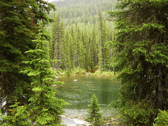 Alpine lake in mission mountains by bitt
