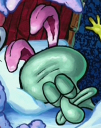 Squidward Wearing Rabbit Ears