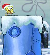 Spongebob Winter RUNerland Spongebob on dark blue building