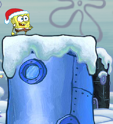 File:Spongebob Winter RUNerland Spongebob on dark blue building.png