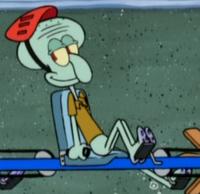 Daydream Squidward Wearing a Helmet