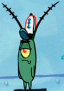 Plankton with Krusty Krab hat