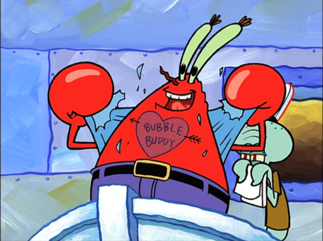 File:Mr. Krabs with a Tattoo and Squidawrd Wearing the Krusty Krab Uniform and Holding a Pad of Paper.png
