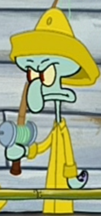 Squidward as a Clam-Fisher