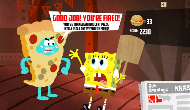 File:SpongeBob, You're Fired! (online game) - Good job! You're fired! (Pizza Pete).png