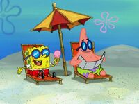 Spongebob holding Ice Cream & Patrick Sun Bathing