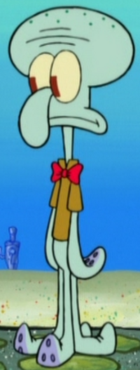 Squidward Wearing a Bow Tie