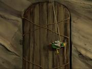 Potty opening a door