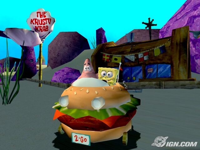 File:3d Spongebob & 3d Patrick (Both In The Krabby Patty Wagon) Next to The Krusty Krab.jpg