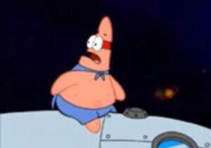 Patrick on a rocket