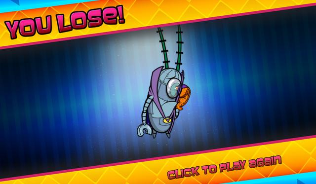 File:Bikini Bottom Brawlers Plankton robot in purple cape you lose.png