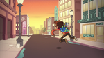 S2E5 Marco riding invisible goat down the street 1