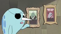 S2E22 Narwhal standing next to 'Foolish' poster