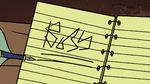 S2E20 Buff Frog underlines 'boss' in his notes