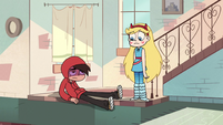 S2E39 Marco Diaz hides his face in his hood