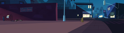 Star Comes to Earth background - Echo Creek street night 2
