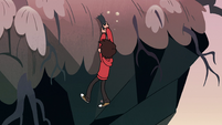 S2E31 Marco Diaz hanging over edge of a cliff