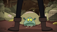 S2E20 Meat Fork standing over Buff Frog