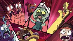 S1E3 Marco, Ludo, and minions screaming
