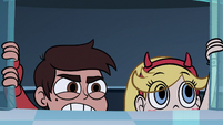 S1E8 Star and Marco climb out of the elevator