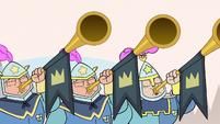 S2E15 Castle royal guards blowing trumpets