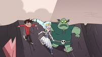 S3E7 Moon, Marco, and Buff Frog slide to crater center