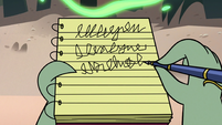S2E20 Buff Frog taking illegible notes